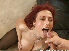 Nikki Sinn working her sexy milf body on a weenie and then getting  a cumshot
