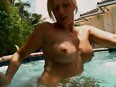 Great Blonde MILF Cocksuckers In The Pool