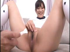 Juvenile Japanese schoolgirl gets her hirsute cunt shaved and vibrated