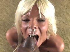 Horny Jordan Blue gets her face overspread with dick goo