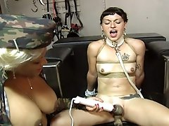 Hawt busty mistress gives her serf some slavery initations