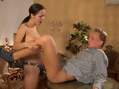 Nasty honey teases her guy with a strap-on sextoy in advance of plugging his...