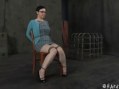 Tattooed big bowels slave having her mouth inserted with plaything in BDSM