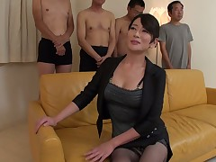 Gifted Japanese milf Rei Kitajima tries in satisfy several clients in olden days