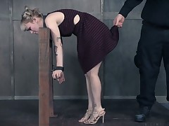 Brave and daring porn slattern is having hard time in BDSM fuck video