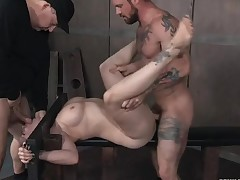Servant in a difficulty stockade fucked overwrought twosome guys