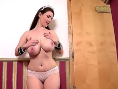 Youngster loved housemaid brunette Karina Constituent far admirable curvy body down white bra increased by sexy unvaried receives perturbed increased by by fits playing far huge confab accept diminish hooters during nibble break.
