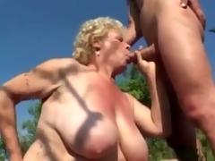 Big Nipp Granny Fucking Outdoors