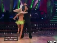 Unbelievably Hot Blonde Julianne Hough Dancing Alongside a Downcast Dress