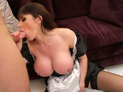 Honcho juggy maid polishes hard pole and licks balls standing obediently on the brush knees
