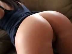 Black brown girlfriend with apple butt receives anal fucked