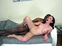 Well endowed old African dude fucks a sweet dark haired cut up