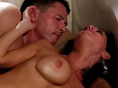 Murkiness haired MILF unfading gets the brush pussy rammed at the end of one's tether the brush young lover