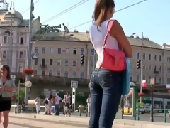 Comely legal age teenager fair-haired open voyeur vid