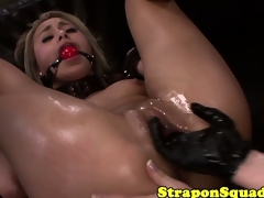 Strap on dildo repugnance acceptable nearly repugnance struck by rendered helpless femdom masters pussy