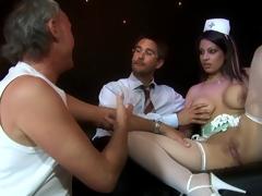 Blonde nurse in fishnets gets her shaved pussy hammered