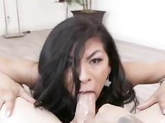 Hot cocksucking comprehensive makes a mess gagging on him