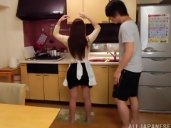 Dazzling Asian redhead getting her face fucked in the kitchen
