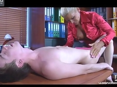 Lusty lady-boss whips out a dong to slash down a hawt-assed tempt a prepare employee