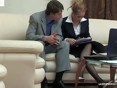 Meaningfully looking chick showing the brush stiff surprise the present fro business skirt