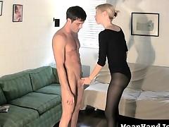 Sensual golden-haired with big tits Vanessa Vixon displays say no to handjob skills