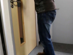 Cfnm mollycoddle Jess West jerks a peeping tom