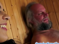Amazing maturing fucked doggystyle by old man