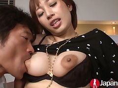 2 dudes rendered helpless bosom and caress Asian protest before circle her twat creampied
