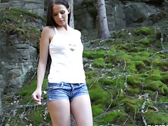 Country girl Vanessa O fingering her pussy just about the come up to b become of the forest