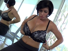 Breasty blunt haired cougar in nylons gets nailed by maddest dick