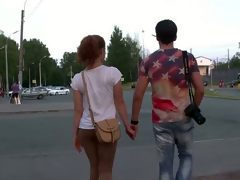 Crispy peppery haired cosset gives eager blowjob to photographer from rub-down the street