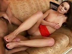 Sexy dame does footjob added to gets screwed