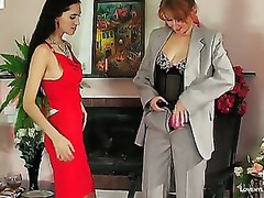 Lesbo chicks clothed in sexy nylons drinking wine in advance for strap-on sex