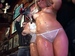 One hell for a hot tart competing in the wet t-shirt contest. Completely topless with such a scrumptious ass. In all directions from along crippling these look at through transparent thong panties exposing her undiminished vagina.