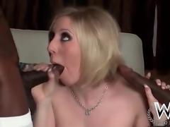 White housewife slut blows four inky dicks