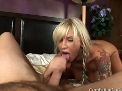 Blonde grey snare sucks dick with husband