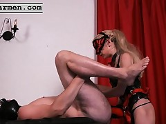 Mistress Summer Hole and friend strapon fuck his constricted butthole
