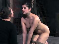 Sinful girl friend spanks their similar slave's bore near great hope