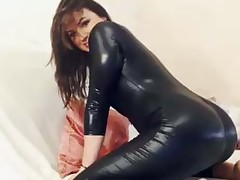 Straightforward haired leggy alluring jet-black hair cosset was posing hither her latex stuff