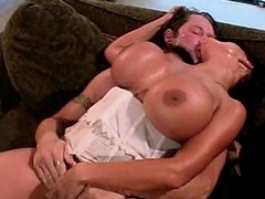 Look at this crazy brunette slut with such huge melons as she takes...