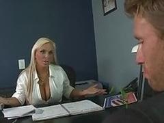 Big Tittied Blonde MILF Holly Halston Deep Throats a Politician's Cock