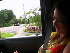 Sexy girlfriend with pleasant big melons was met by me on the street and invited for an action