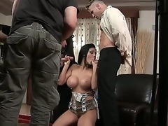 Sexy siren Aletta Ocean is sharing her juicy pussy and tight bunghole with two very hungry fellows