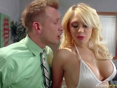 Big boobed stripper Kagney Linn Karter in white bikini turns guy on to the point of no return and handles his hard dick like a pro. She licks and sucks his rock solid dick before he sticks it in her tight pornstar pussy