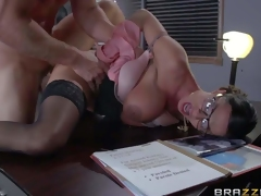 Four-eyed sexy milf Ariella Ferrera with huge boobs is a sexy fuck hungry warden. She gets her needy pussy fucked damn hard by prisoner Johnny Sins in her office. He fucks the shit out of buxom woman