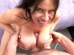 Dark haired Daphne Rosen with gigantic mind blowing gazognas and great oral skills gives memorable titjob to her lover in pov and gets licked to orgasm in lusty sixty nine
