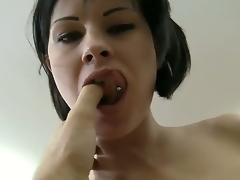 Young brunette horny chick Abbie Cat got her toes sucked off by Rocco Siffredi and now getting cruelly fucked in her tight pussy.