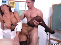 Hot teacher Veronica Avluv screwed out by her student!
