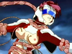 Anime girl caught by tentacles in top of roof
