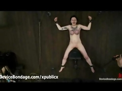 Chained to wall Ruby copulates sybian and whipped